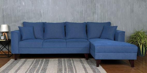 lara 3 seater lhs sectional sofa in denim blue colour