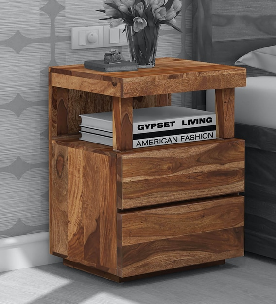 leo solid wood night stand in rustic teak finish