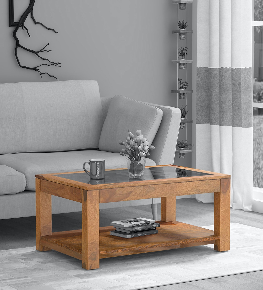 mckenzy solid wood coffee table with glass top in rustic teak finish