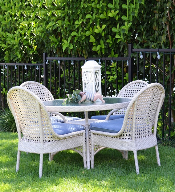 millo wicker coffee table set 4 chairs 1 table in white colour