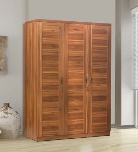 Buy Monarch Three Door Wardrobe In Natural Teak Finish By Peachtree     Monarch Three Door Wardrobe In Natural Teak Finish By Peachtree