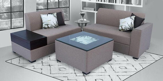 nanaimo corner sofa with coffee table in brown colour