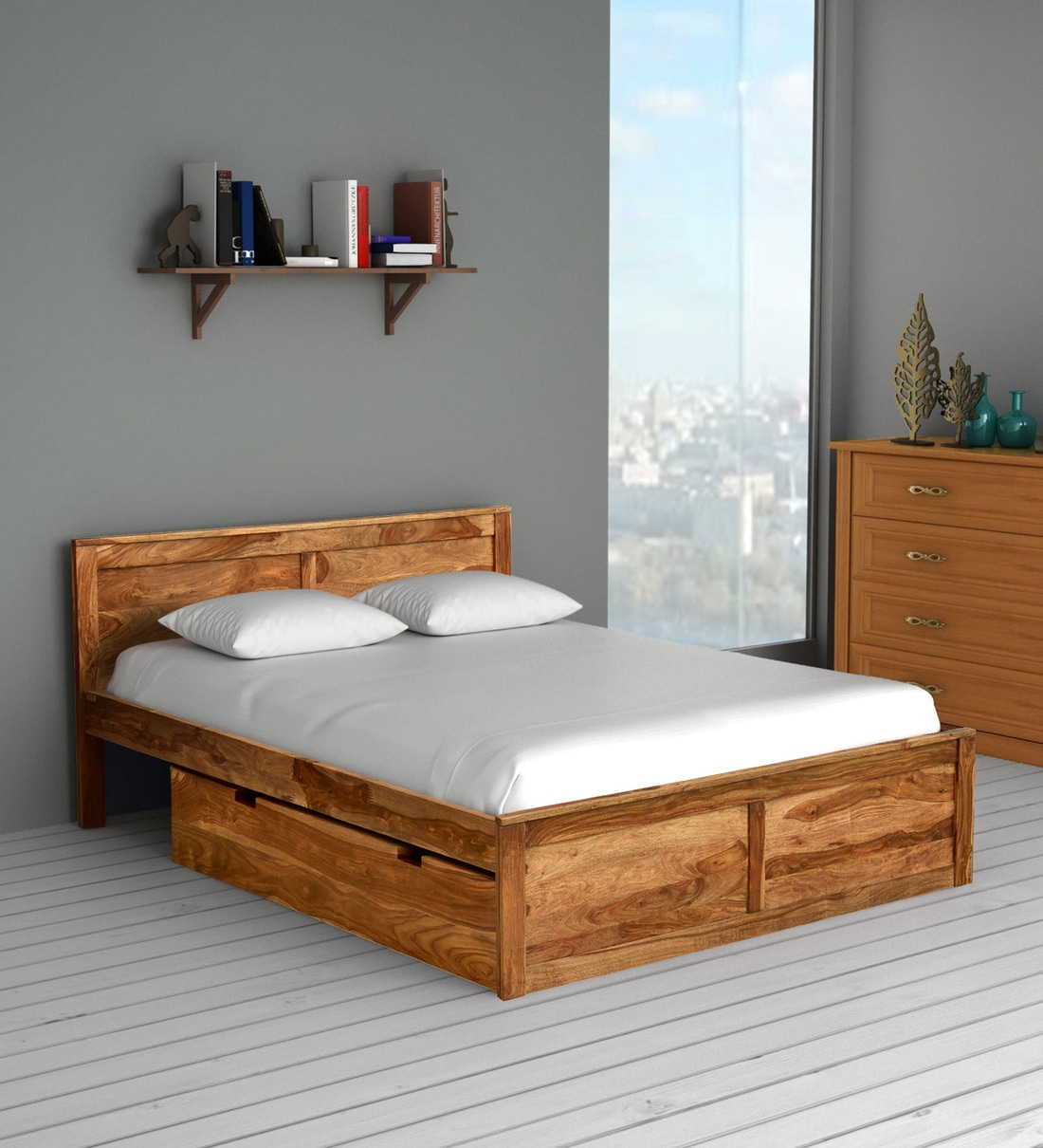 oriel solid wood queen size bed with storage in rustic teak finish