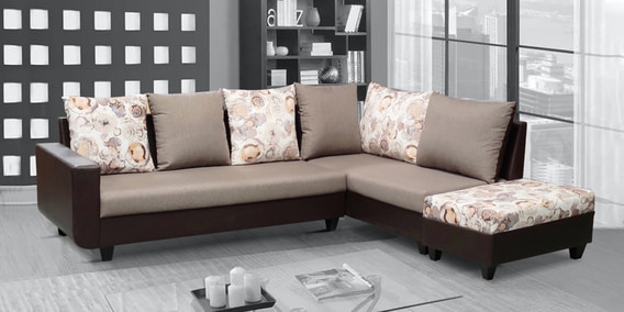 rio brown lhs sectional sofa with ottoman in brown beige colour