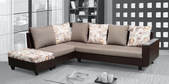 rio rhs sectional sofa with ottoman in brown beige colour