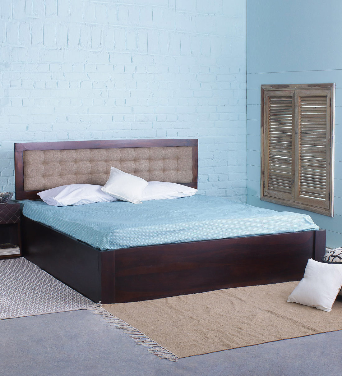 solid wood king size bed with quilted upholstered headboard with storage in dark walnut finish