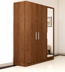 Buy Three Door Wardrobe with Mirror in Viking Teak finish in Ply Ply     Three Door Wardrobe with Mirror in Viking Teak finish in Ply Ply by  Primorati