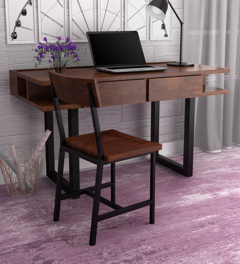 Buy Tiber Solid Wood Study Amp Laptop Table With Chair In Premium Acacia Finish By Woodsworth