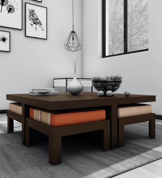 trendy coffee table set with 4 stools in rust delite colour