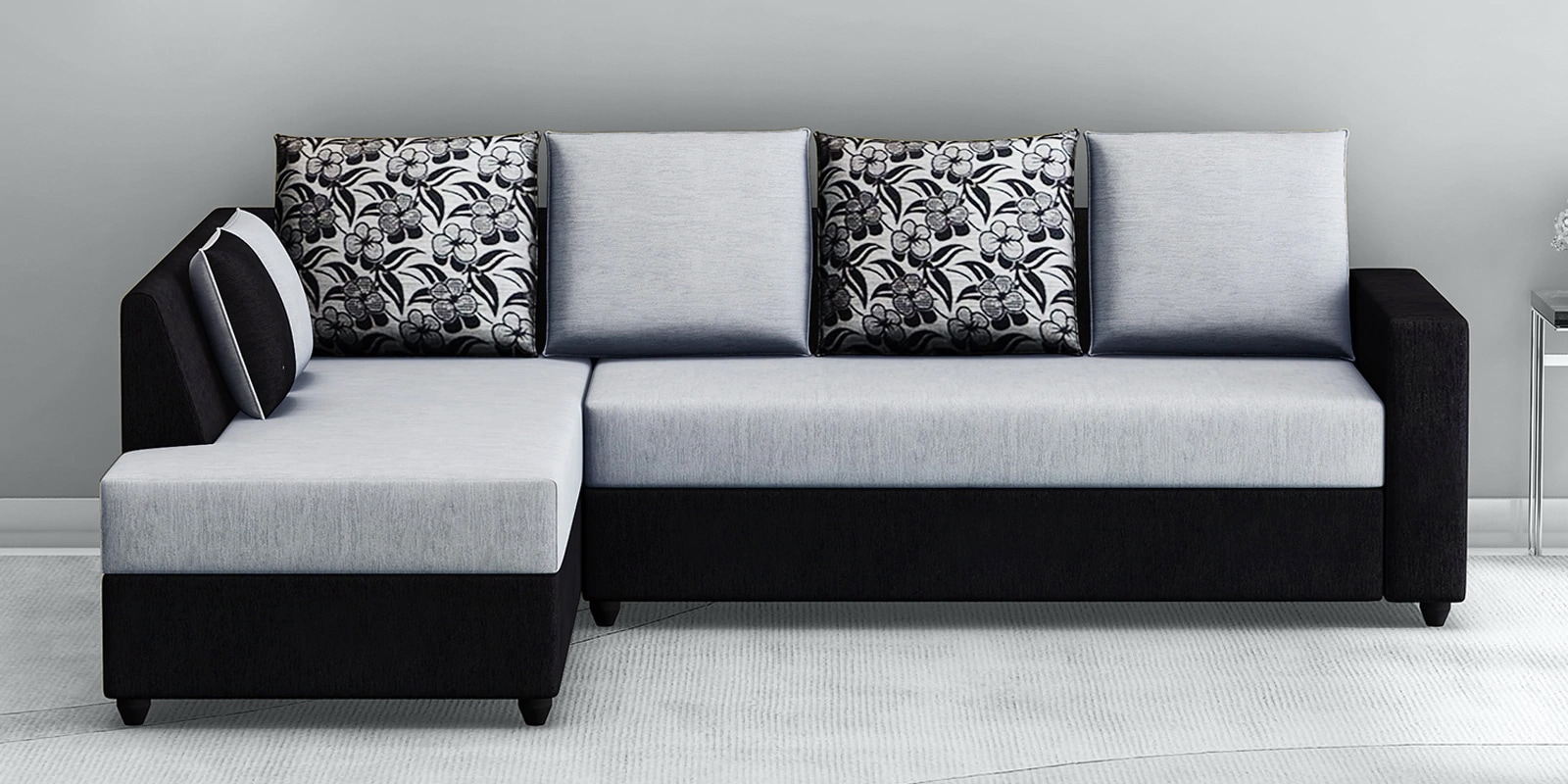 victoria rhs sectional sofa in grey black colour