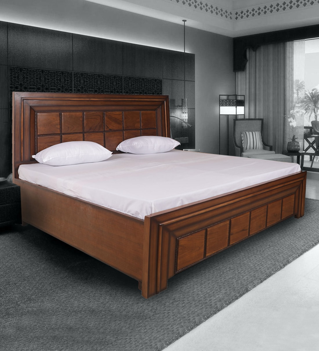 wendy king size bed with box storage in light walnut finish