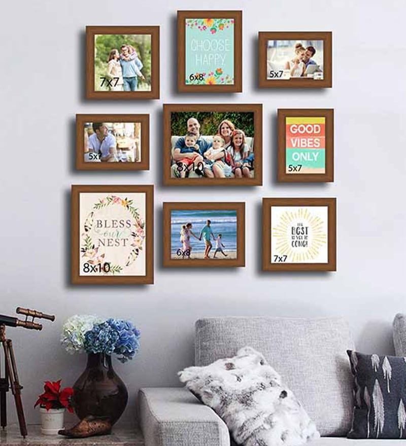 10e8ee861f2 Brown Synthetic Wood Wall Photo Frame Set Of 9 By Art Street. Black  Synthetic And Glass Collage Photo Frame By Sviru Online