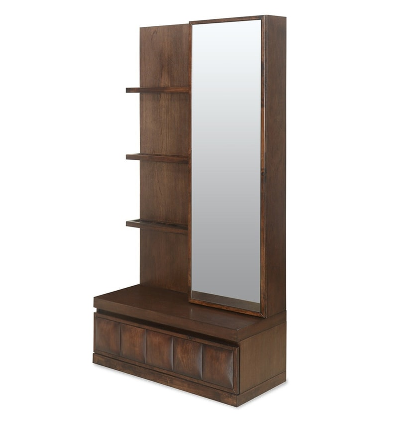 Buy David Dressing Table With Mirror In Dark Walnut Finish By Home Online Modern Dressing