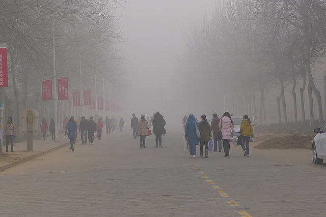 Thick air pollution is a common problem in many areas of China. Credit: V.T. Polywoda via Flickr.