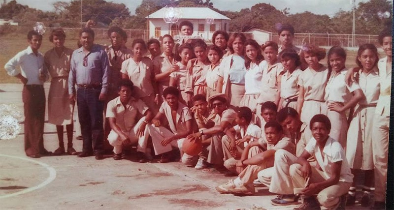 Historic picture of children living in Sosua Dominican Republic at the basketball field of their school, founded by the Jewish immigrants from Germany.