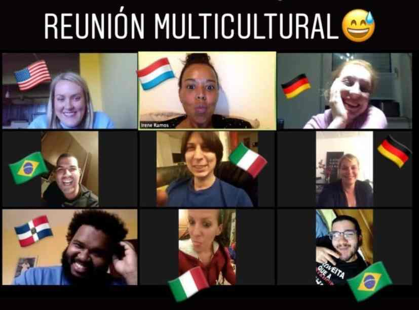 A collage of individual IIC Spanish students from different countries who look into the camera while learning Spanish online in live online classes from the Dominican Republic.