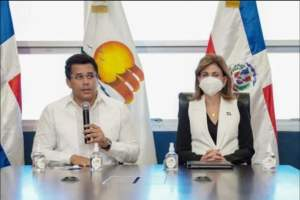 Dominican Tourismminister David collado and Vice president Peña in a press conference about on Germany's decision to take the Dominican Republic offthe list of COVID19 risk areas.