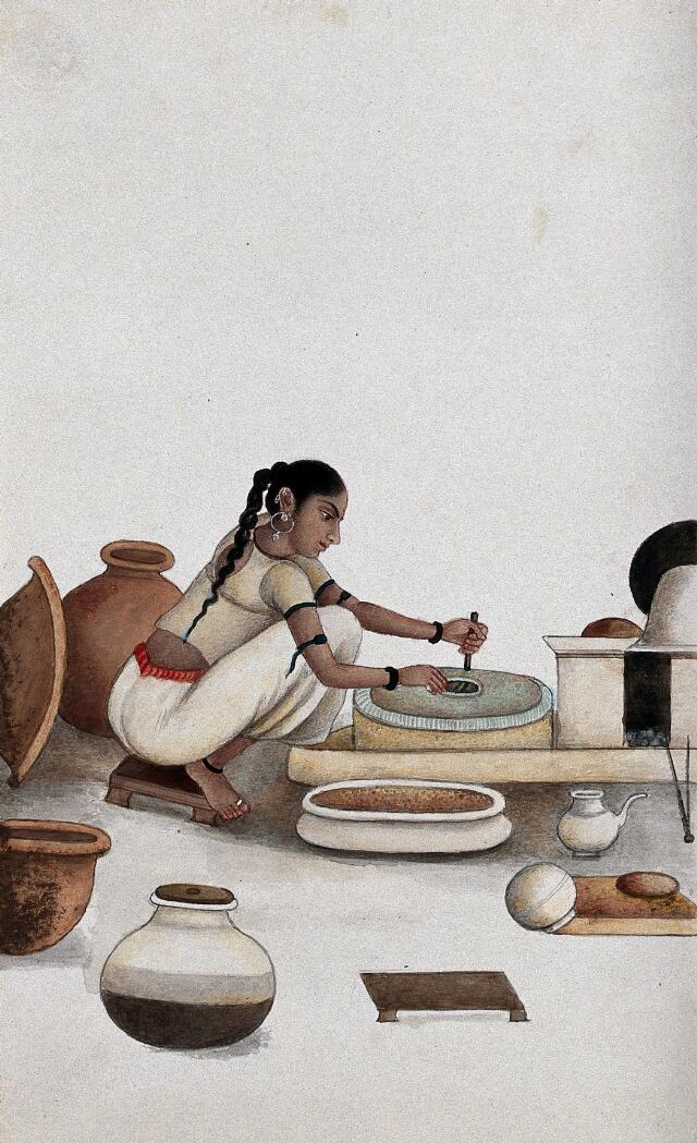 Delhi: a woman grinding grain into flour. Watercolour by an Indian painter.