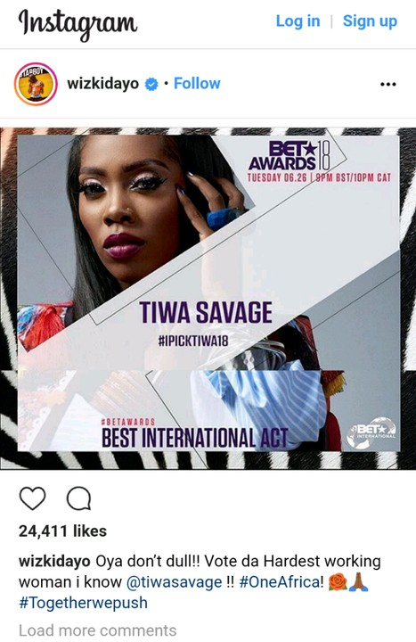 Vote For Tiwa Savage, She's The Hardest Working Woman I've Known - WizkidVote For Tiwa Savage, She's The Hardest Working Woman I've Known - Wizkid