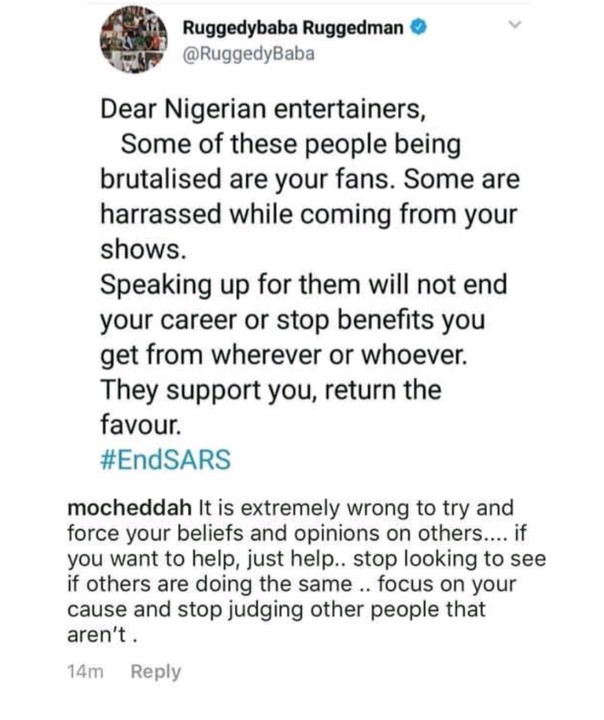 Mocheddah Tackles Ruggedman For Urging Celebs To Speak Against SARS 1
