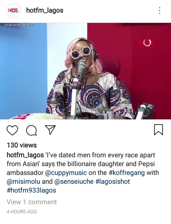 DJ Cuppy Claims To Have Dated Men From Every Race Apart From Asia