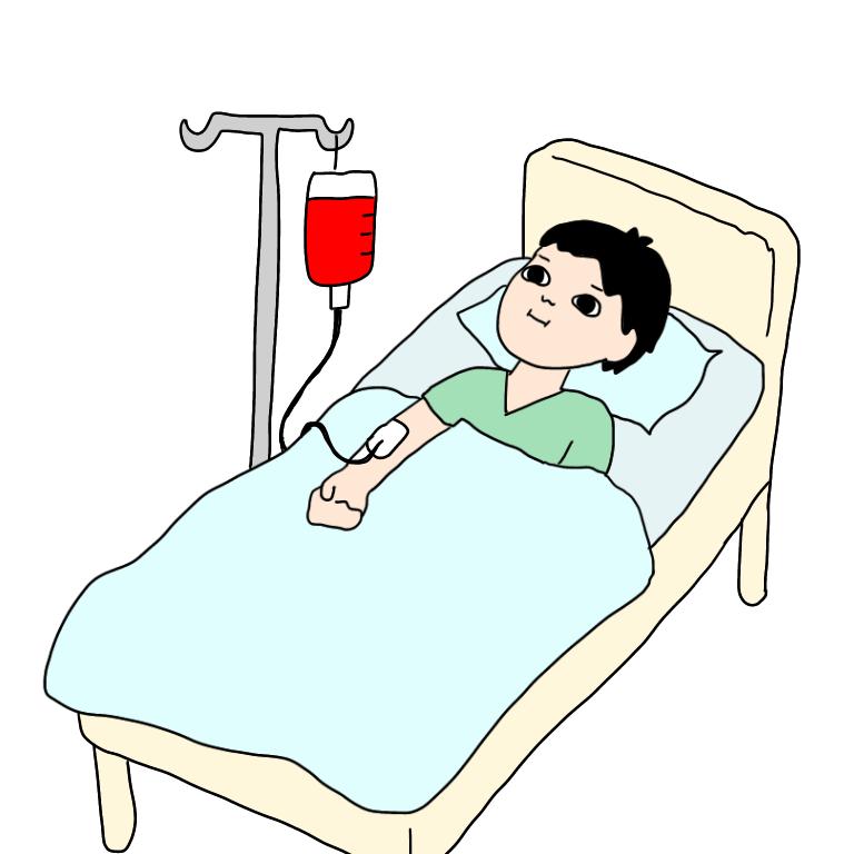 輸血しているところ