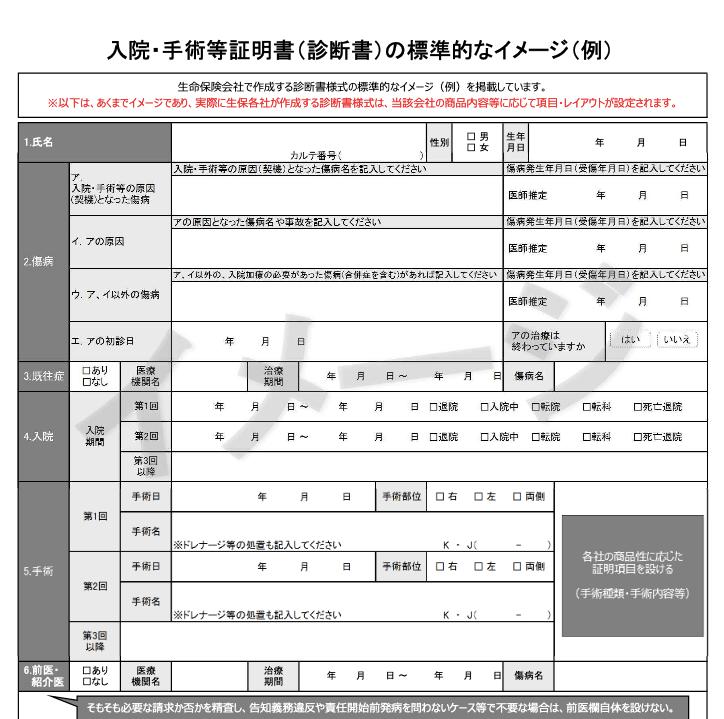 入院・手術等証明書(診断書)の標準的なイメージ(例)