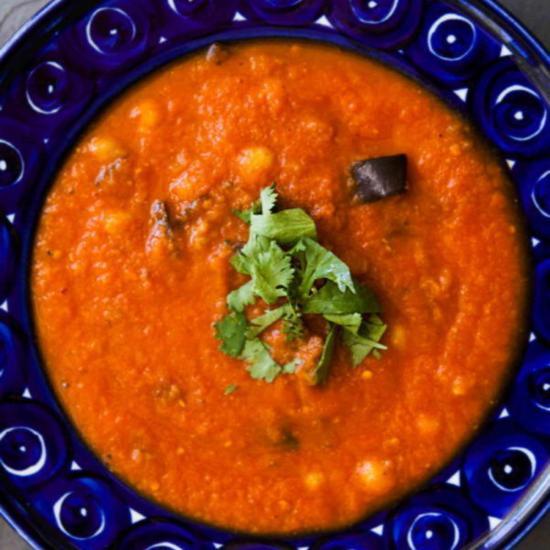 рецепт томатный суп пюре из баклажанов рецепт жаренной моркови и нута