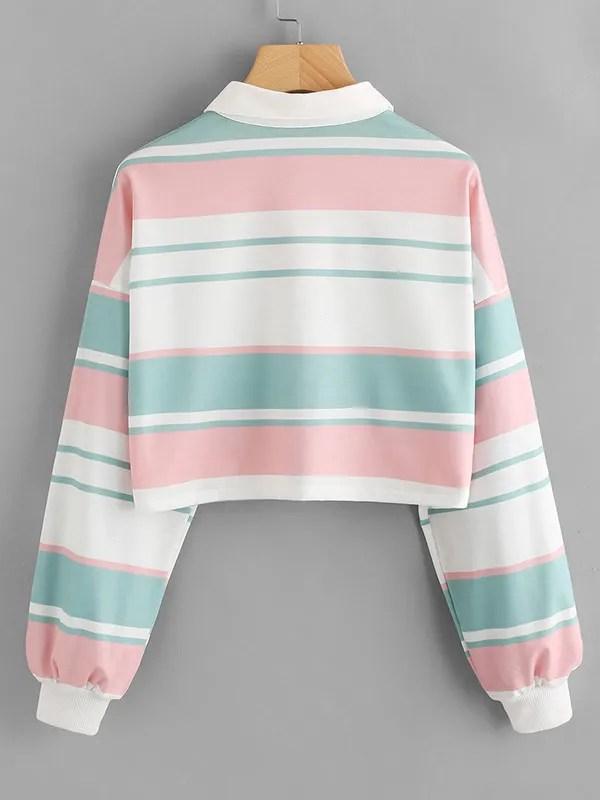 Suave Subtle Color Contrast Striped Long Sleeve Crop Top