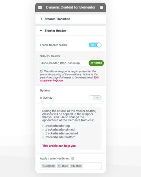 Tracker Header Dynamic Content for Elementor