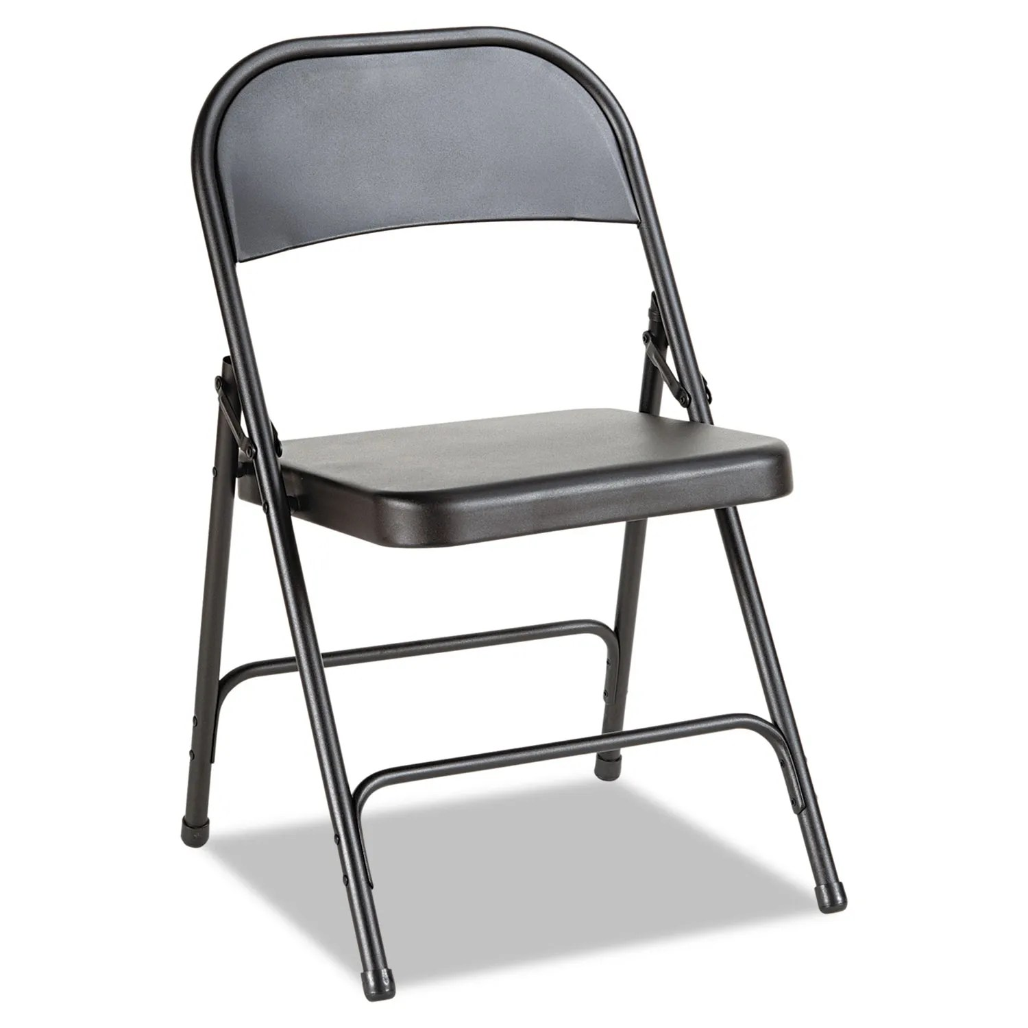 Steel Folding Chair With Two Brace Support Graphite Seat Graphite Back Graphite Base 4 Carton