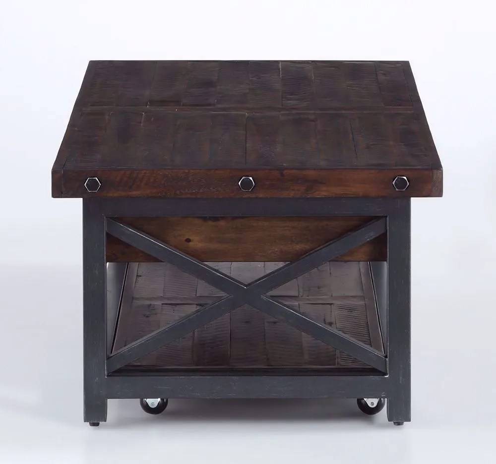 carpenter lift top cocktail table with casters