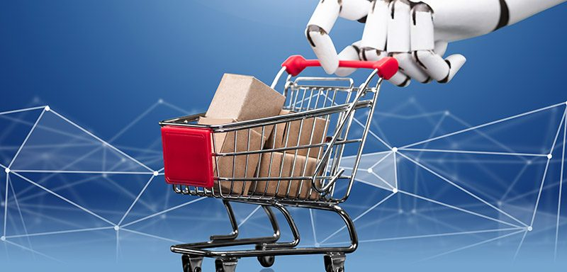 Robotic-Hand-Holding-Shopping-Cart-Filled-With-Cargo-Boxes