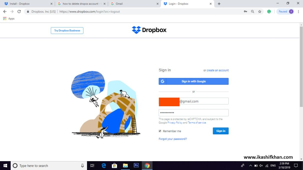 How-to-Delete-Dropbox-Account-step1