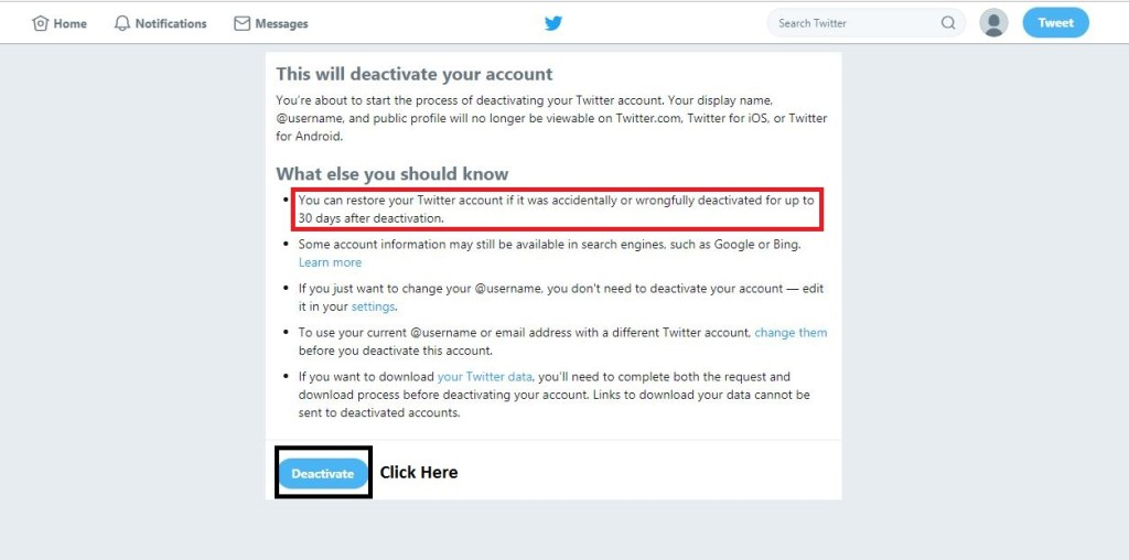 How to Delete Twitter Account Step 5