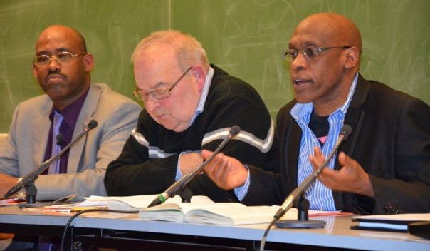 Deo Mazina, Pr Jean-Pierre CHRETIEN, Dr. Marcel KABANDA and Professor Jean-Philippe SCHREIBER in a conference in Brussels ULB