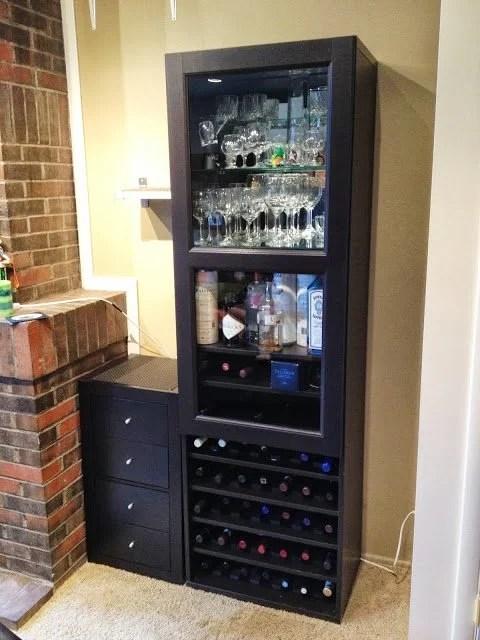 Besta wine rack and liquor cabinet ikea hackers materials besta frame 75 58 40102129 besta glass door inreda mirrored glass shelf insert 50196542 4 extra inreda shelves 90103471 eventshaper