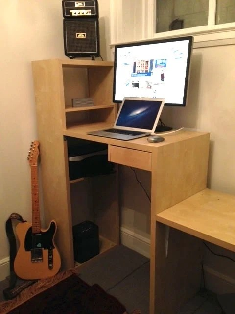 Ikea Lasse Desk With Bookcase To Standing Amp Sitting Desk