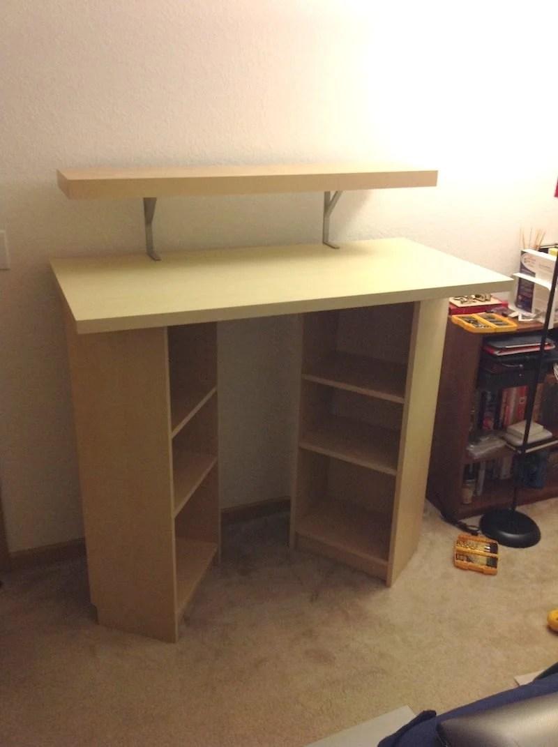 Billy standing desk ikea hackers for Ikea desk with shelf