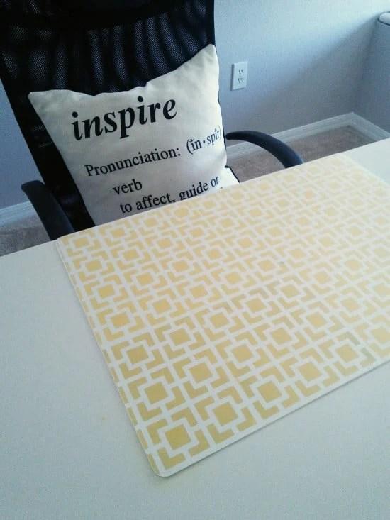 PRÖJS desk pad over stenciled poster board secured with spray glue