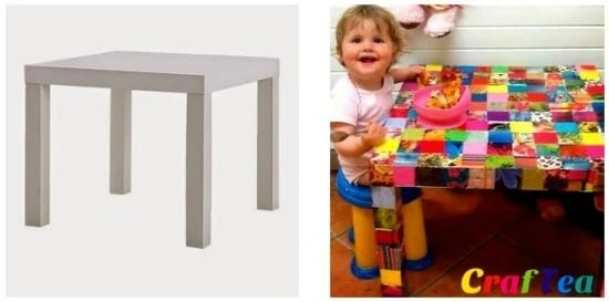 IKEA Hack - Lack Side Table transformed with Glossy Magazine Squares & DIY Decoupage