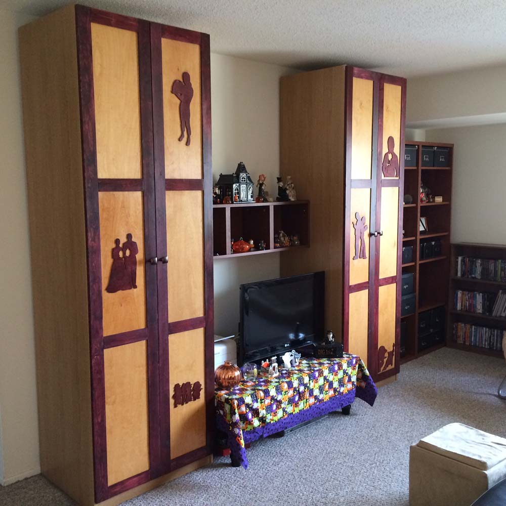 Pax Billy Living Room Storage With Silhouette Doors