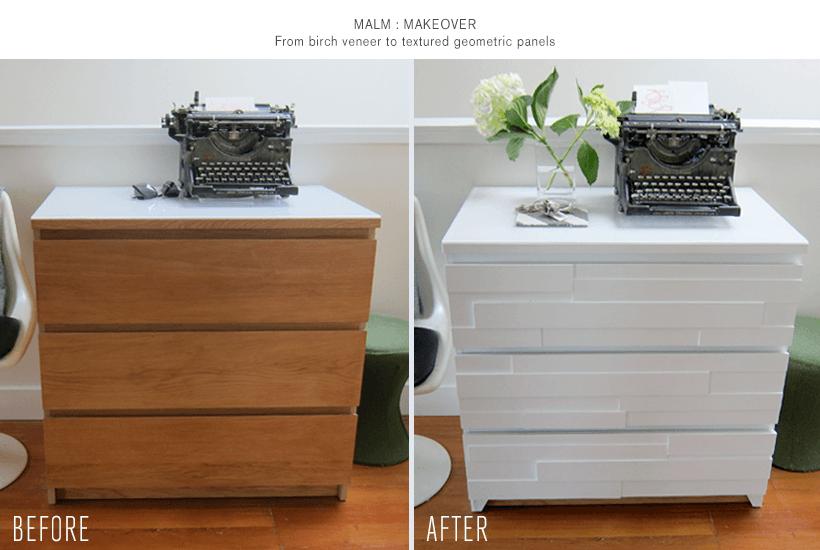 Malm dresser geometric makeover ikea hackers - Malm dressing table drawer organizer ...