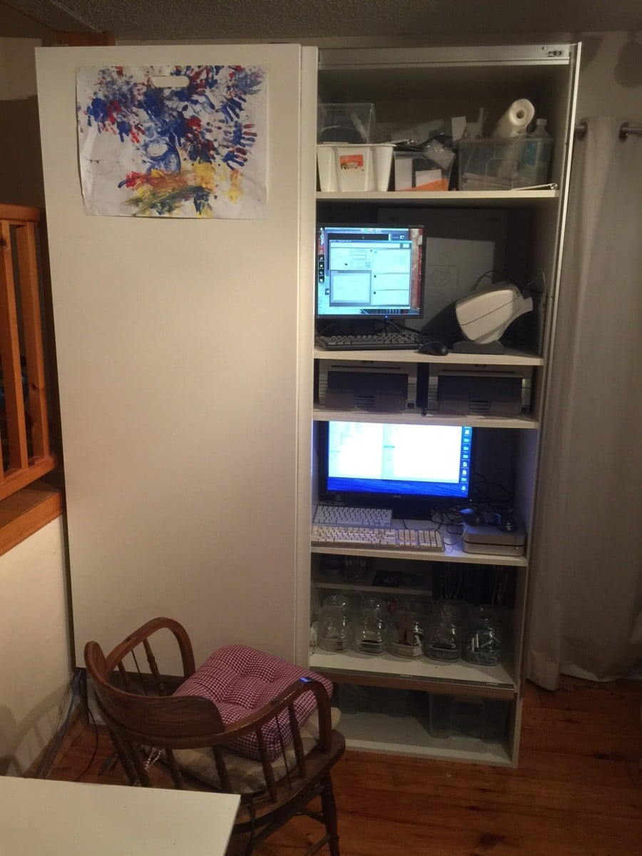 Wall Office With Akurum Kitchen Cabinets And Pax Sliding