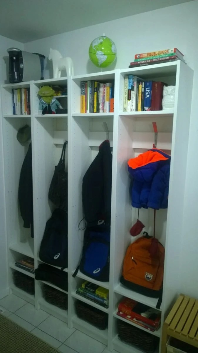 Built In Entryway Cubbies Using Billy Bookcases