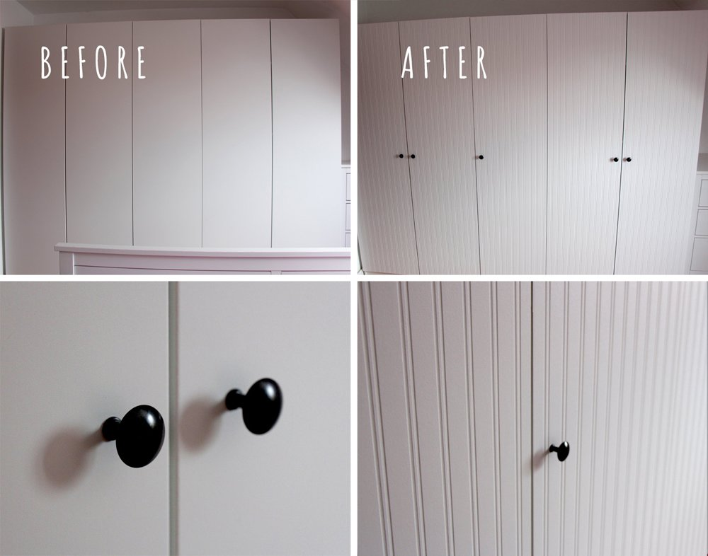 pax wardrobe closet makeover with beadboard wallpaper ikea hackers. Black Bedroom Furniture Sets. Home Design Ideas