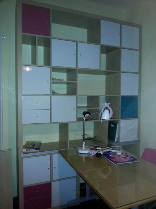 EXPEDIT shelving with sliding GALANT desk combo