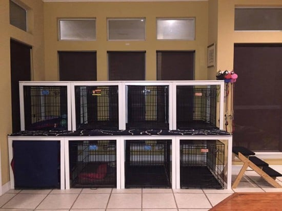 IKEA MELLTORP tables converted to Canine Condo