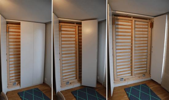 Murphy Bed in an IKEA PAX wardrobe - doors in action