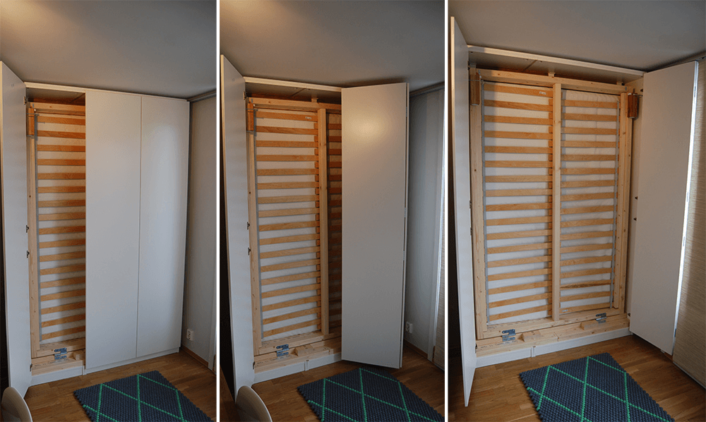 Stunning Murphy Bed in an IKEA PAX wardrobe doors in action